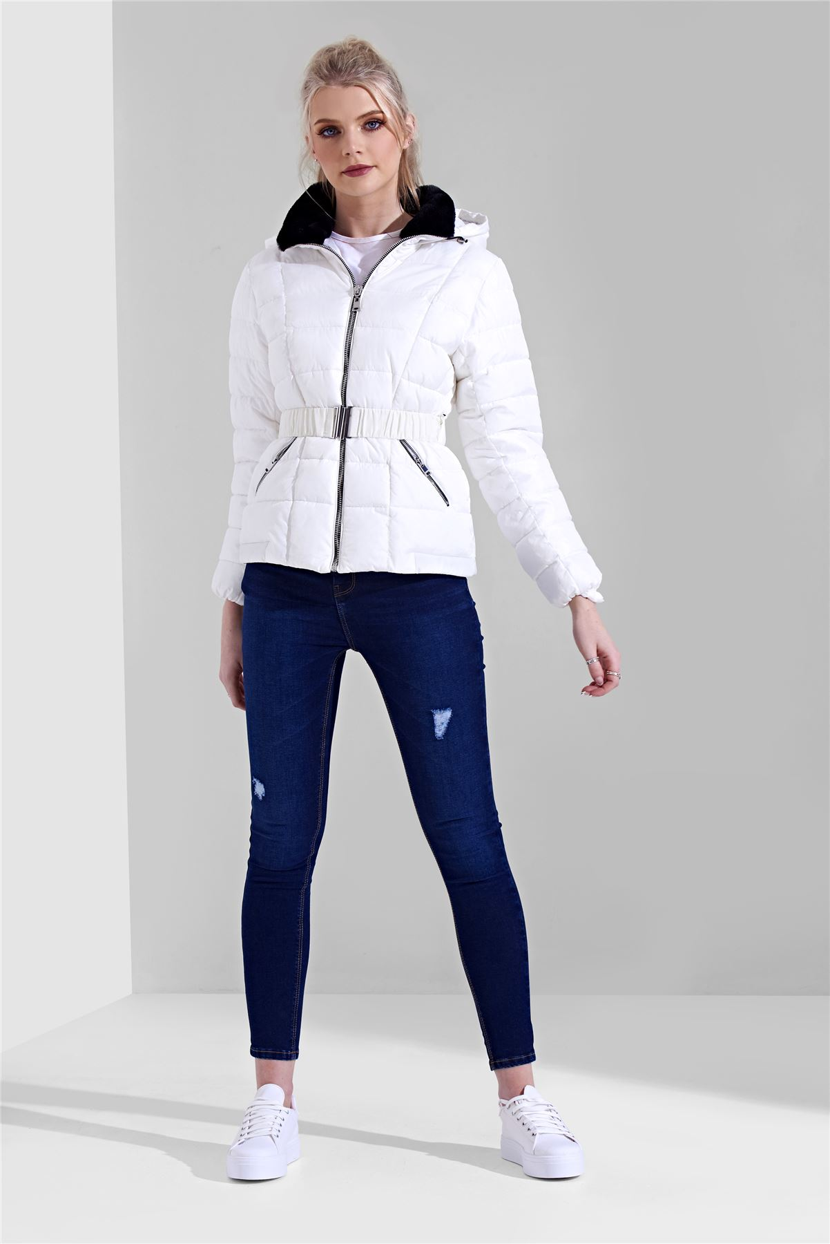 Womens-Ladies-Black-Hood-Belted-Fur-Collar-Zip-Up-Quilted-Puffer-Jacket-Coat thumbnail 10
