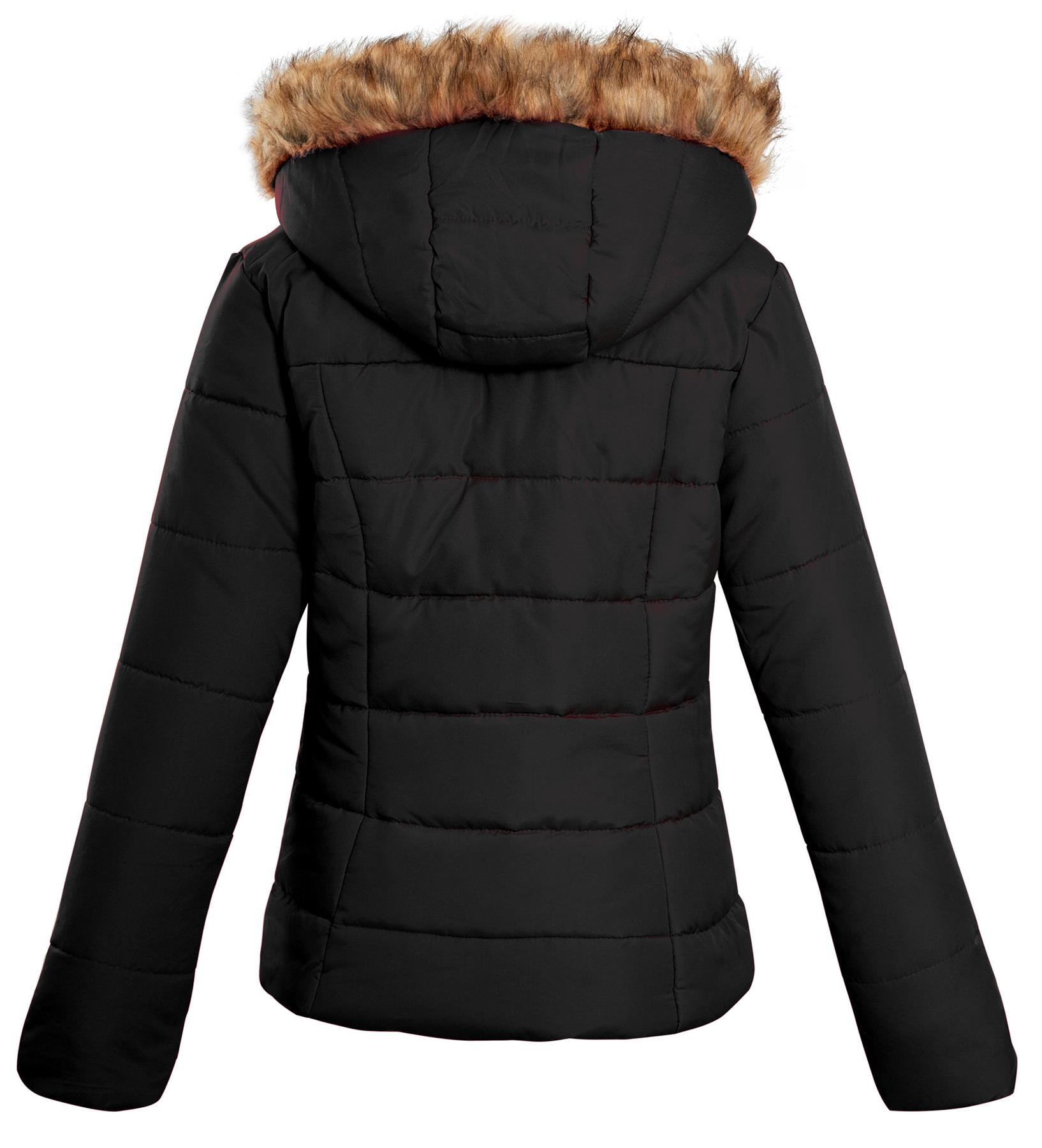 Shelikes-Ladies-Padded-Faux-Fur-Trim-Hood-Hooded-Jacket-Winter-Coat-Size-6-to-16 miniatuur 4