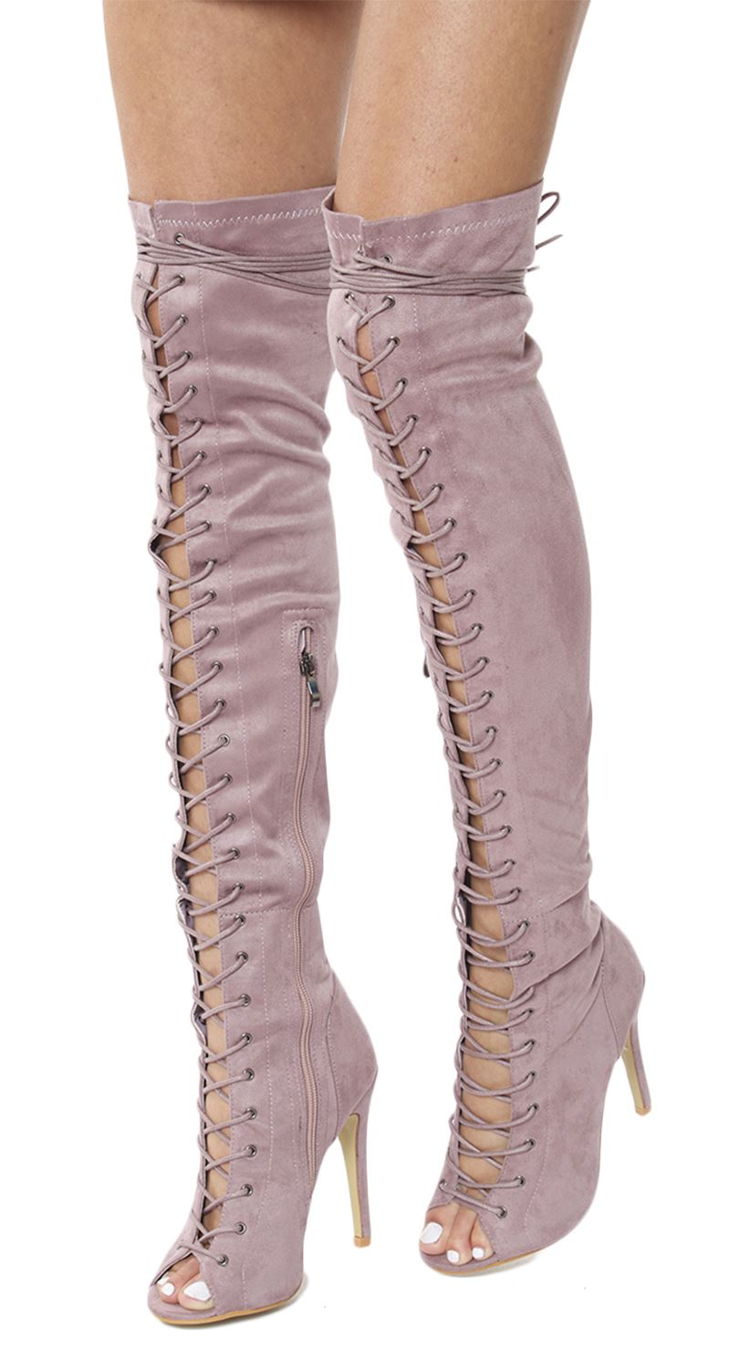 new womens stretch front lace thigh high stiletto heel