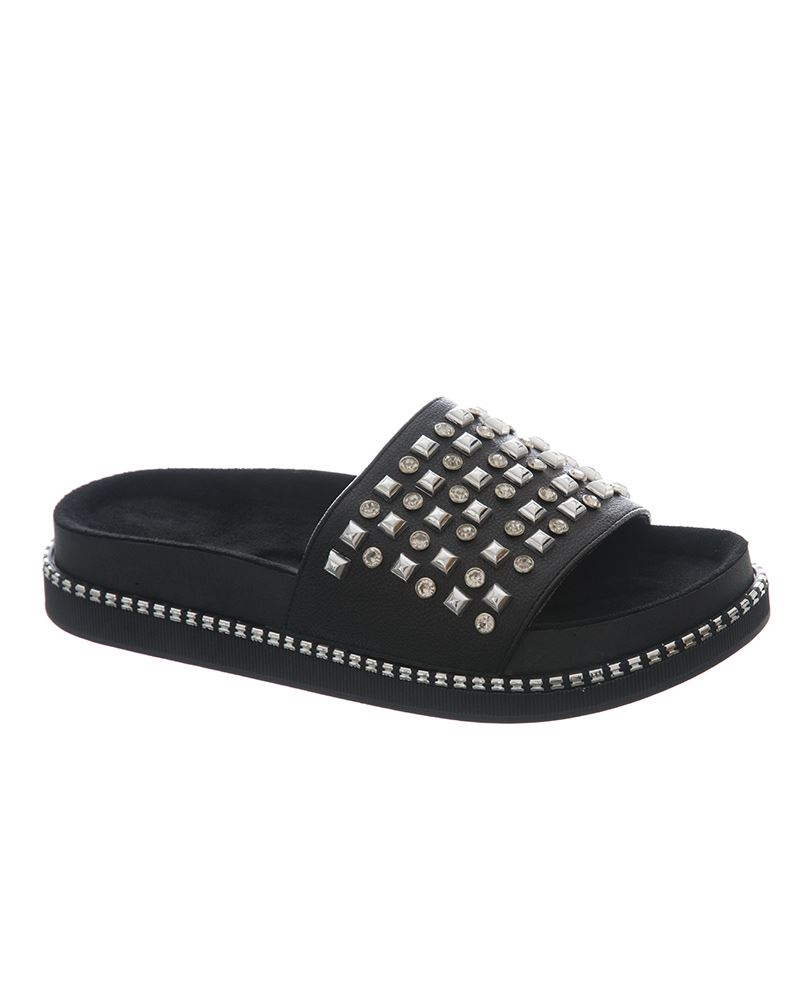 Womens-Sliders-Ladies-Stud-Studded-Flip-Flops-Slip-On-Slipper-Shoes thumbnail 3