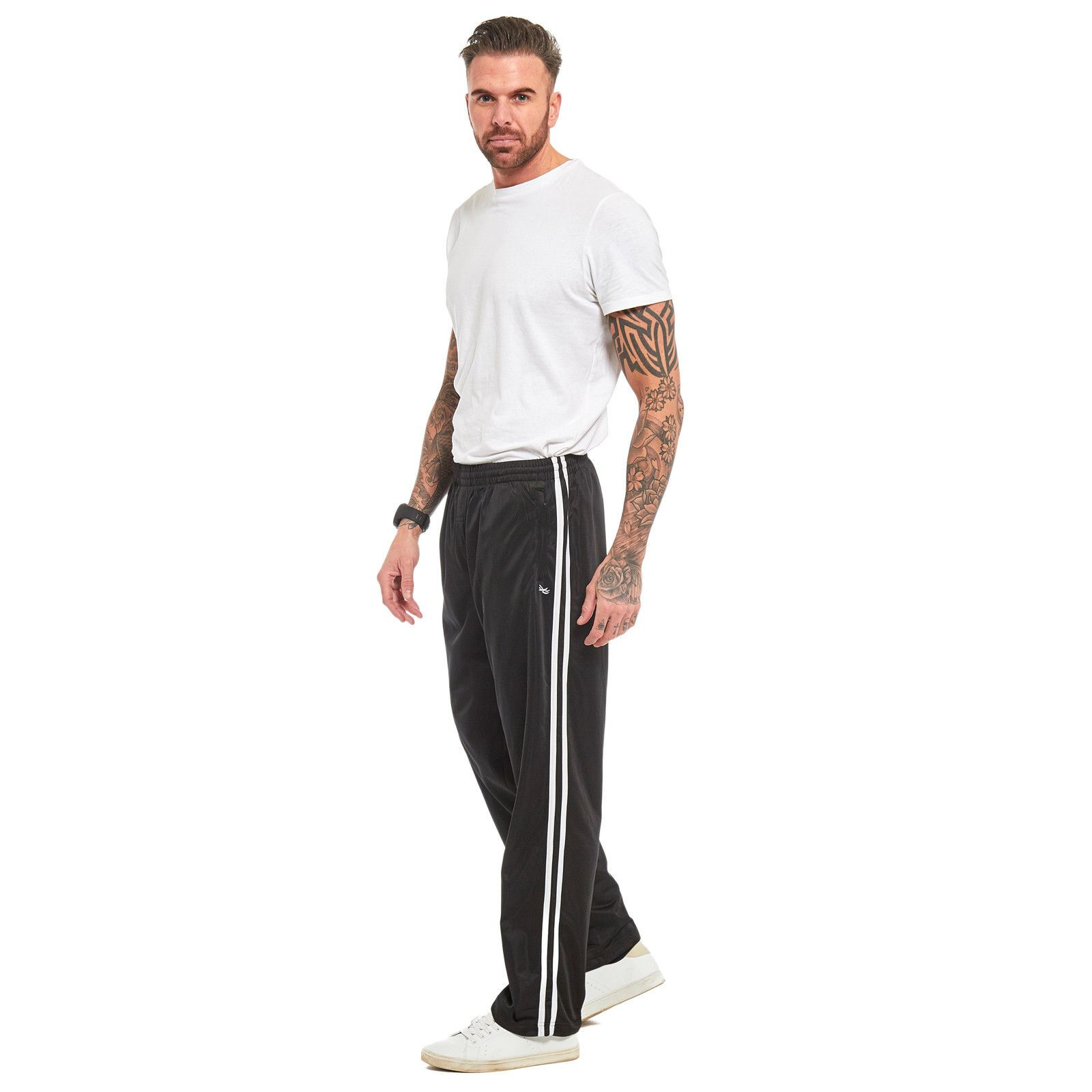Mens-Tracksuit-Joggers-Jogging-Striped-Gym-Sports-Silky-Bottoms-Trousers-Pants thumbnail 7