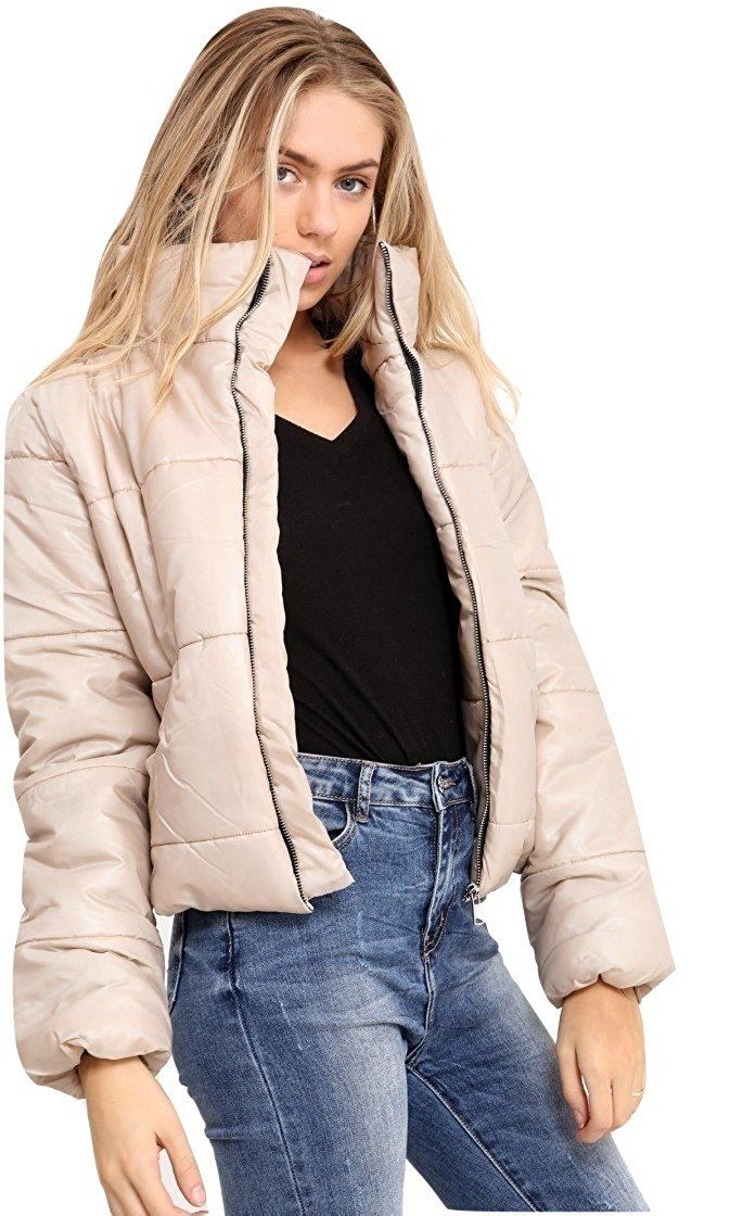 Womens Cropped Jacket Puffa Puffer Padded Quilted Warm ...  Cropped