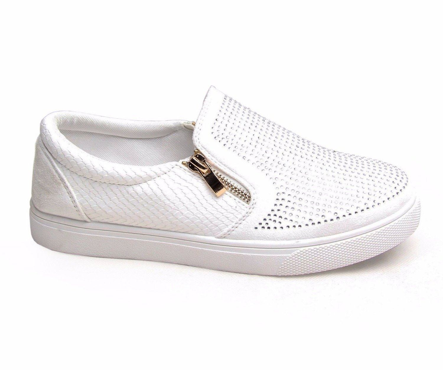 Womens Zip Diamante Trainers Croc Skin Slip On Skater Sneakers Flats ... 046d7a01d