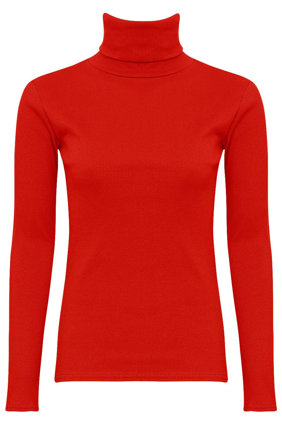 WOMENS LONG SLEEVES TURTLE NECK TOP LADIES RIBBED STRETCHY ...