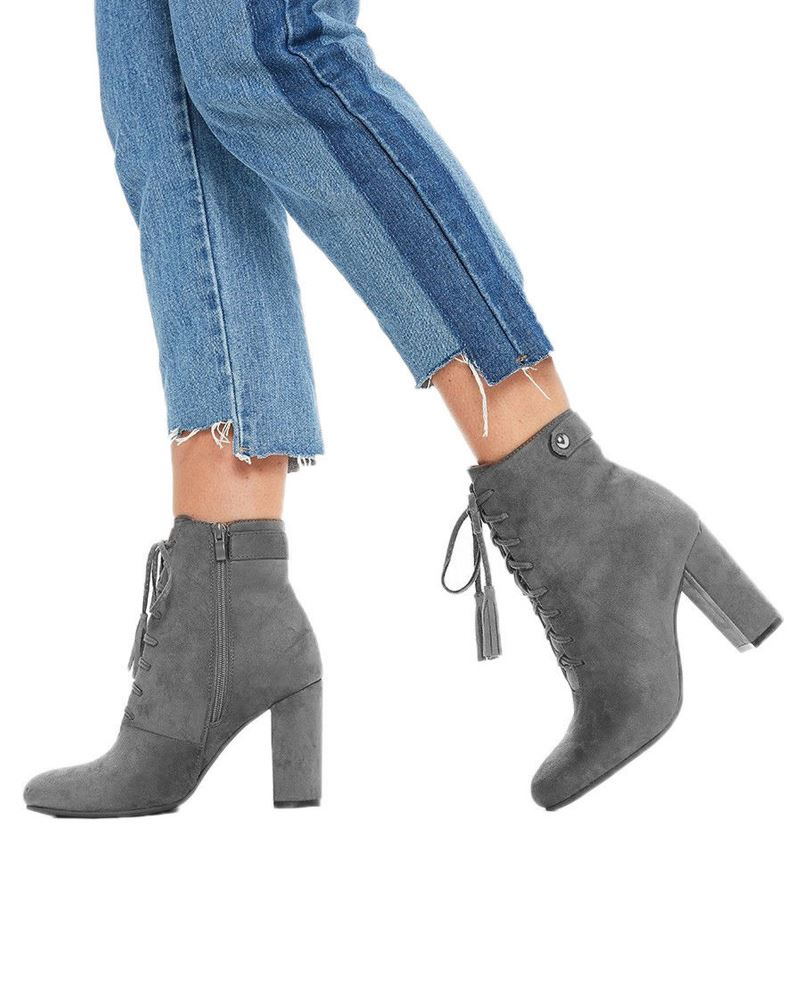 New Womens Lace Up Boots Block Chunky