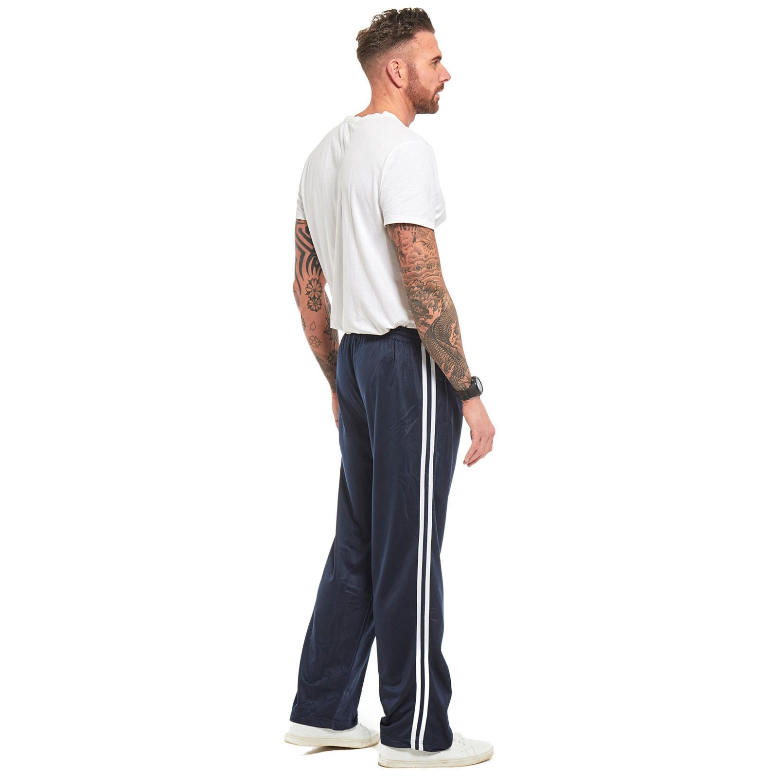 Mens-Tracksuit-Joggers-Jogging-Striped-Gym-Sports-Silky-Bottoms-Trousers-Pants thumbnail 17