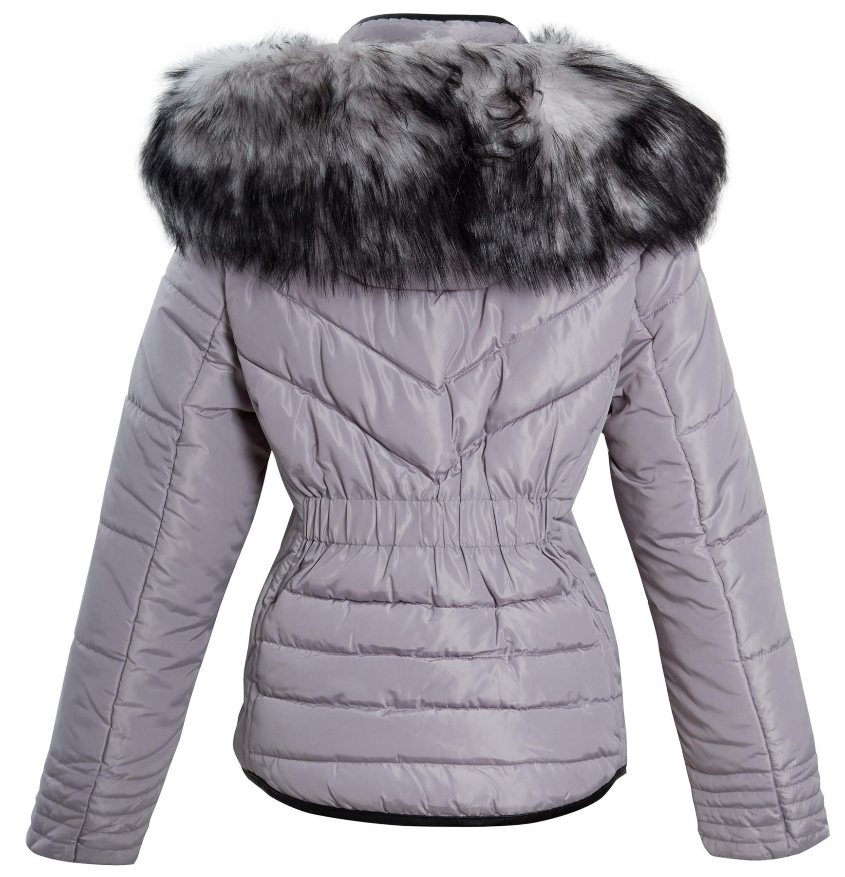 Shelikes-Womens-Ladies-Quilted-Padded-Winter-Warm-Fur-Parka-Jacket thumbnail 10