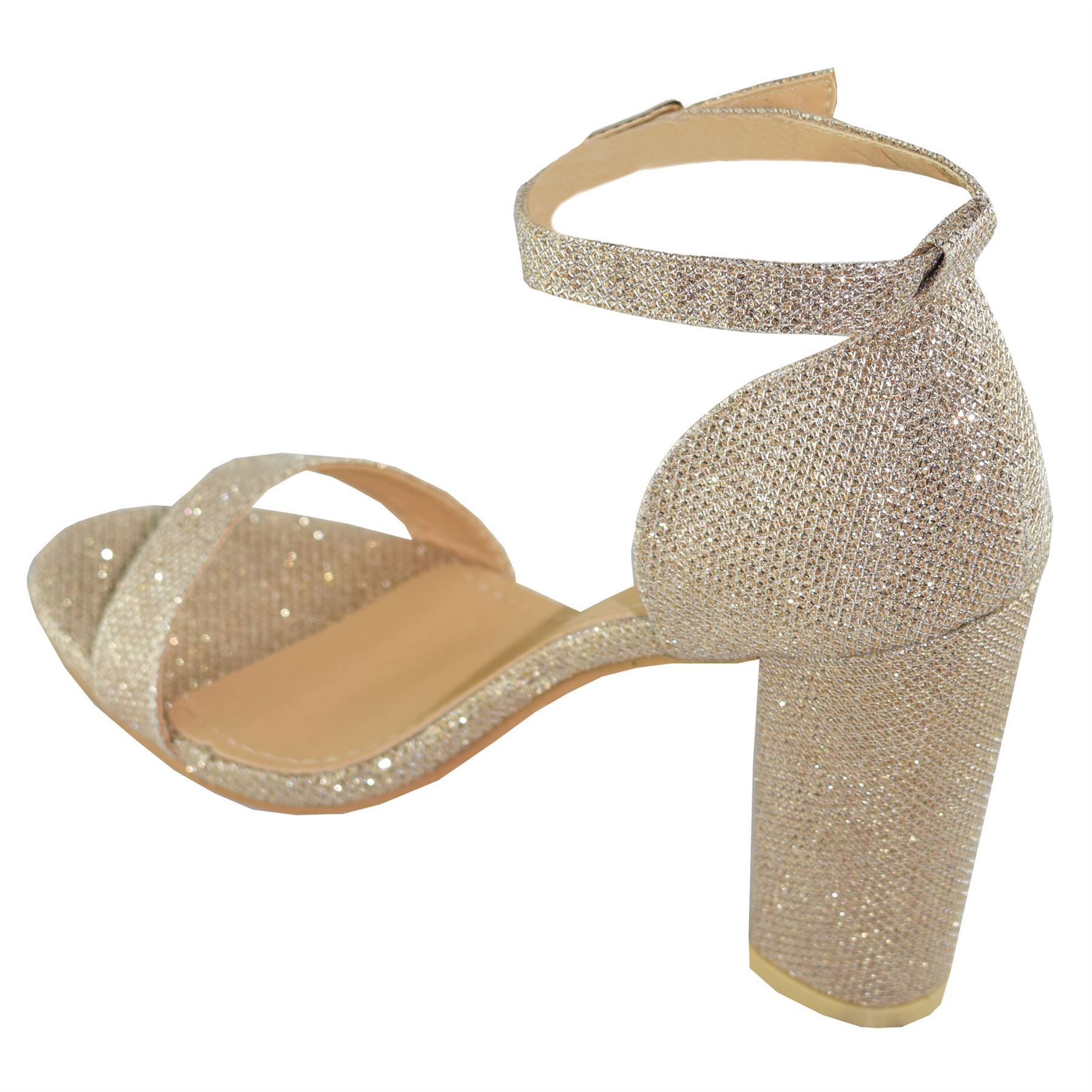 032f32e9b23 New Womens Mid Block Heel Ankle Strap Sparkle Formal Casual Giltter ...