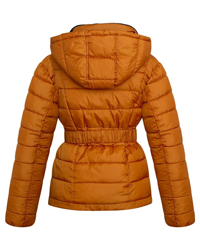 Womens-Ladies-Black-Hood-Belted-Fur-Collar-Zip-Up-Quilted-Puffer-Jacket-Coat thumbnail 3