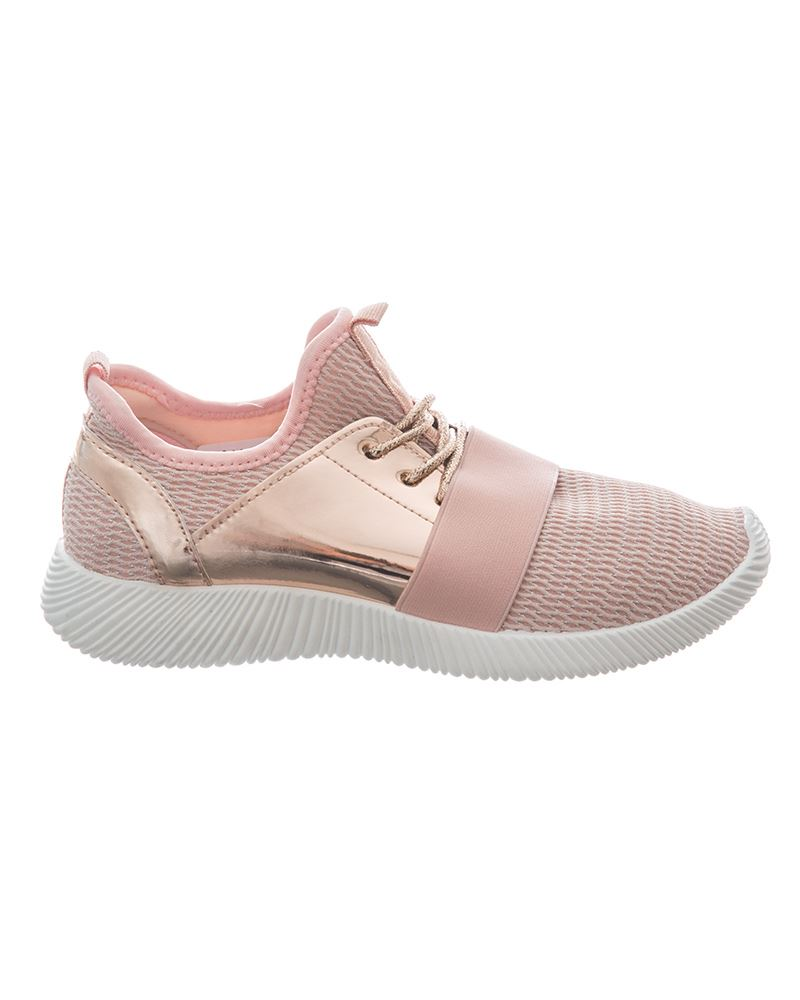 Shelikes Womens Lightweight Two Toned Lace Up Panel Trainers