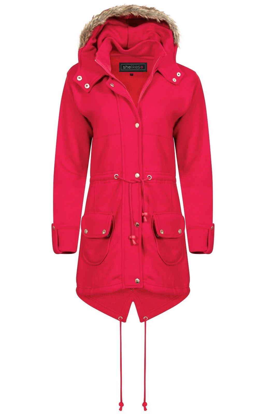 Ladies Womens Size Fishtail Fux Hooded Trench Fur Plus Parka Kids ... aa7906327c