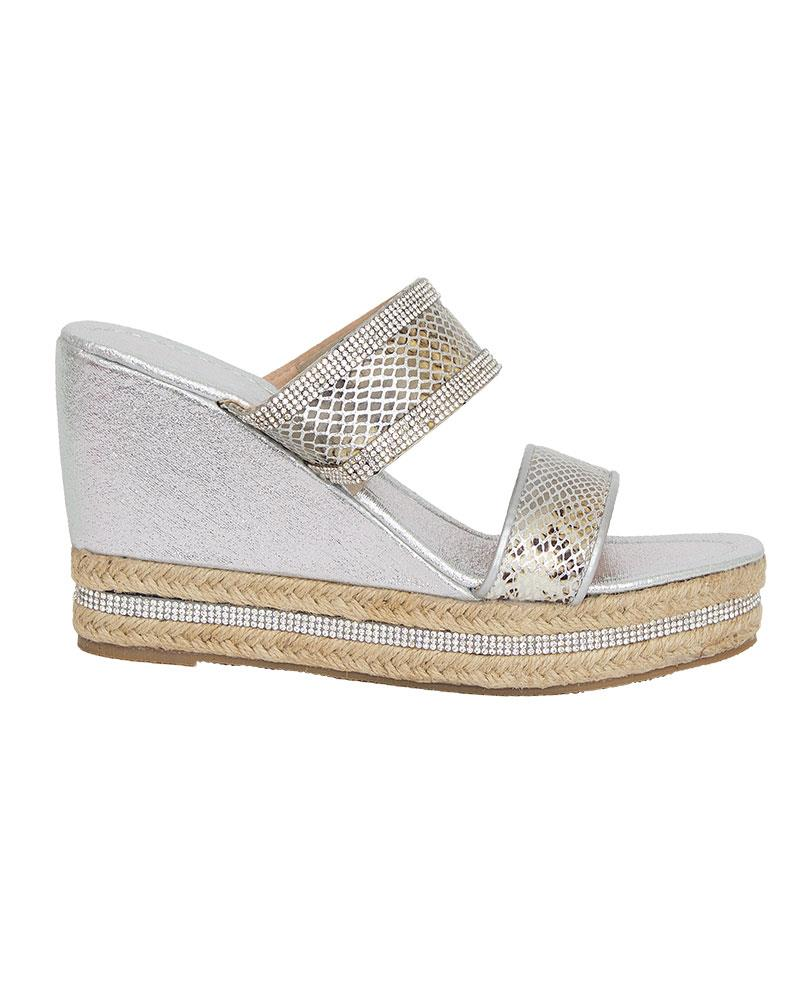 Shelikes-Womens-Sparkly-Wedge-Diamante-Slip-On-Summer-Beach-Holiday-Sandals thumbnail 13