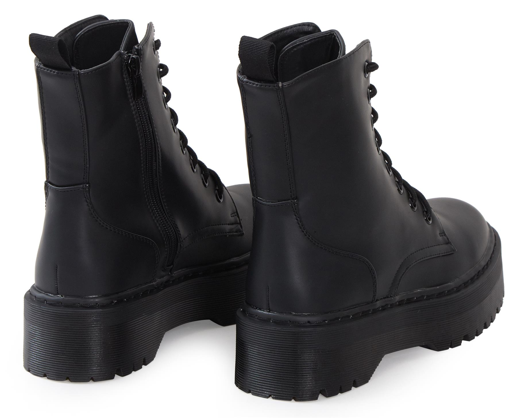 Womens-HiTop-Platform-Military-Punk-Biker-Ankle-PU-Leather-Lace-Up-Vintage-Boots thumbnail 12