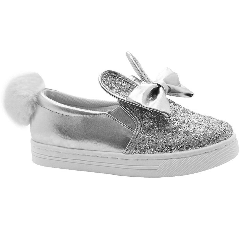 Nuevos niños chicas Pom Pom Orejas de Conejo Brillo Detalle De Moño Resbalón en Zapatos Entrenadores