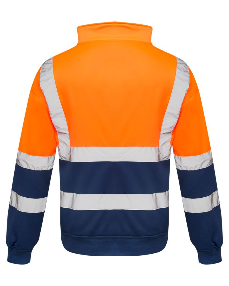 Mens-Quarter-Zip-Hi-Vis-Long-Sleeve-Fleece-2-Two-Tone-Sweatshirt-Jumper-Top thumbnail 3