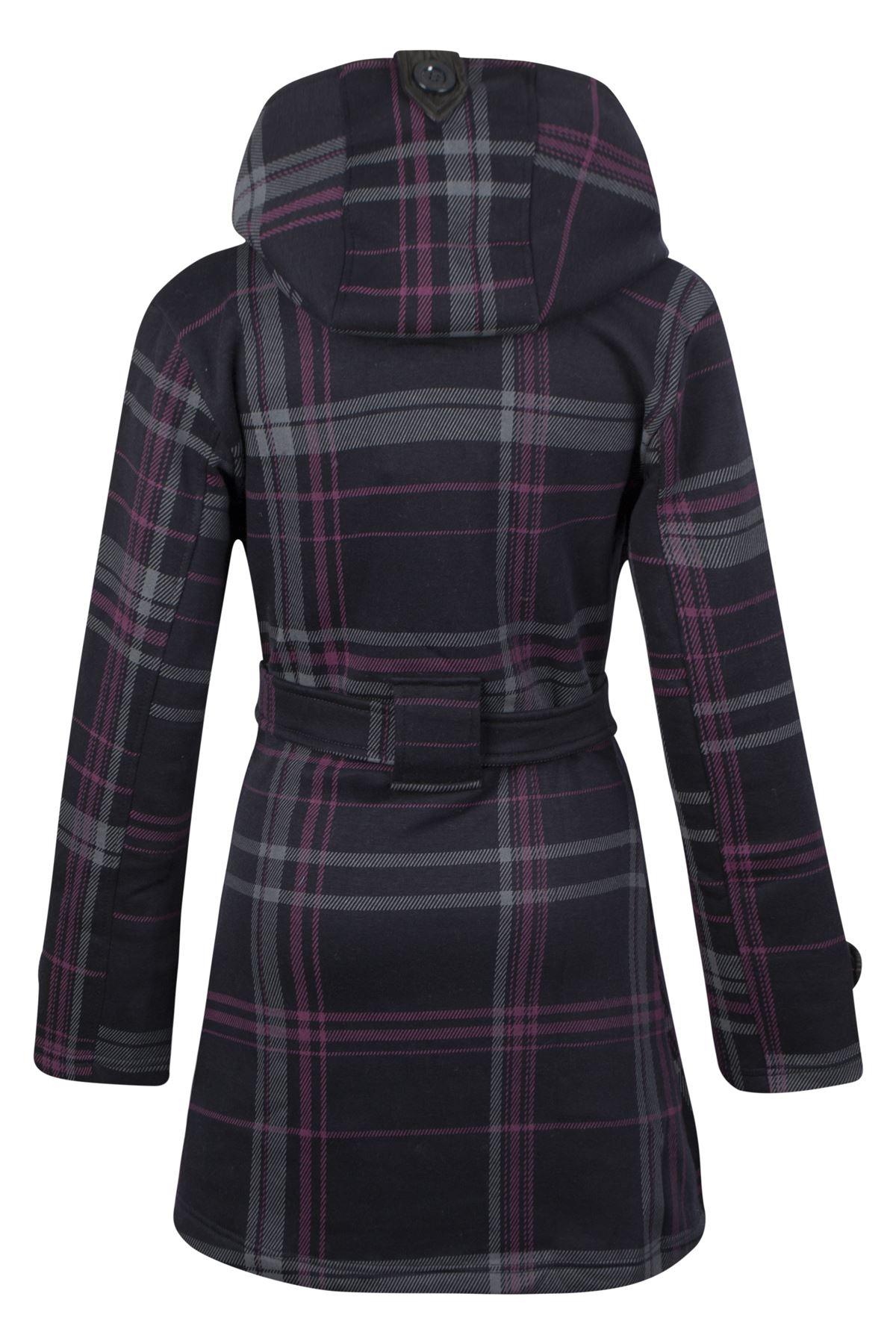 Womens-Belted-Ladies-Check-Hood-Coat-Fleece-Hooded-Button-Jacket-Size-UK8-14