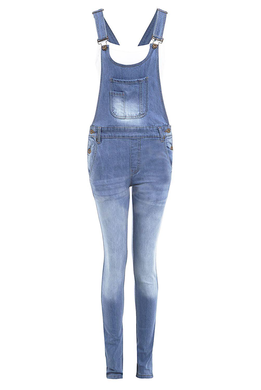 NUOVA linea donna Tasca A Marsupio Con Bottoni Blu Jeans Tutina Salopette Pantaloni