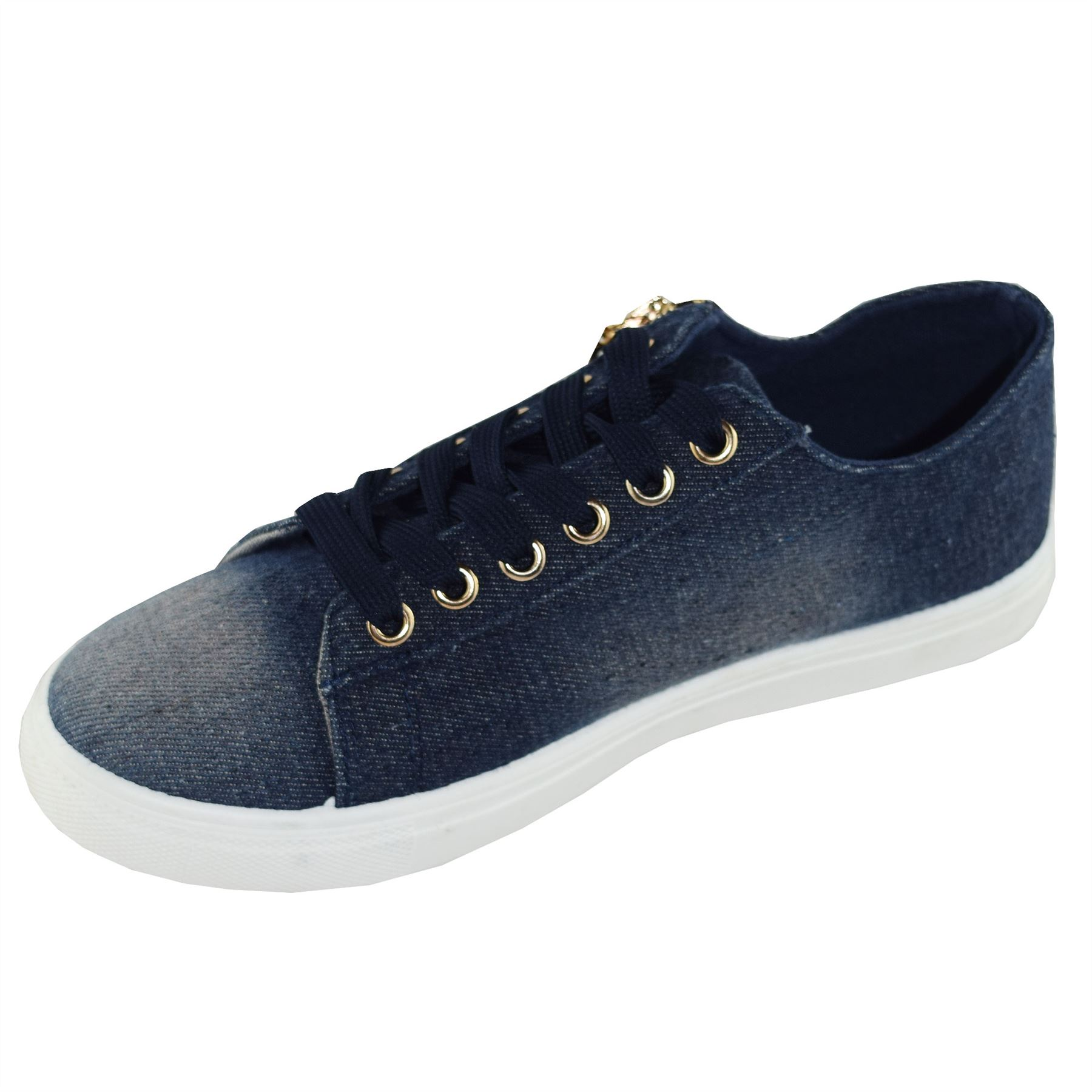 Nuevo Para mujeres Con Cordones Aspecto Mojado Cremallera Lateral Zapatos Tenis Informales Calce Clásico
