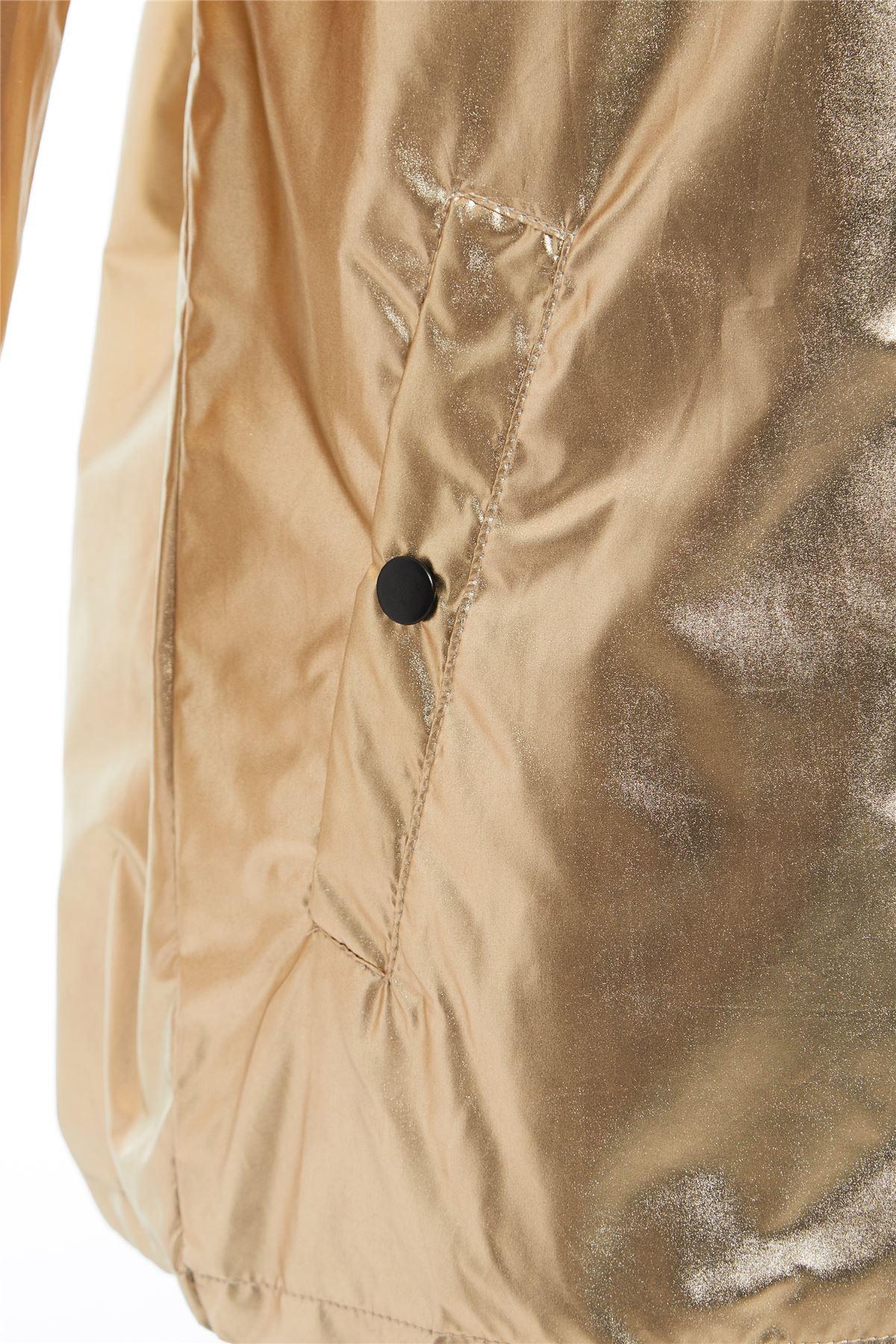 New-Womens-Hooded-Zipped-Metallic-Festival-Jacket-Top-Kagool-Mac-Raincoat-8-16 thumbnail 4