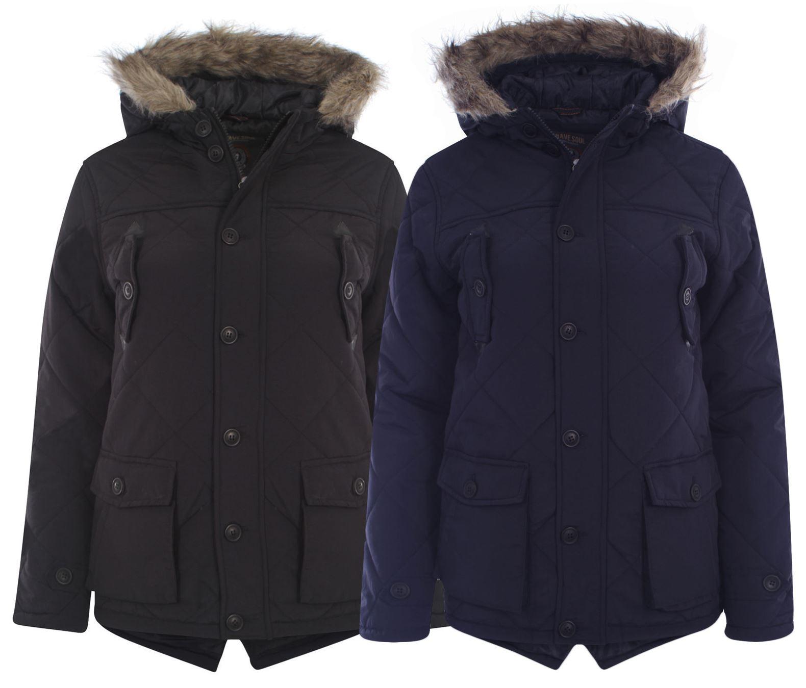 7966ee134 New Kids Boys Diamond Stitch Padded Faux Fur Hooded Parka Rain Coat ...