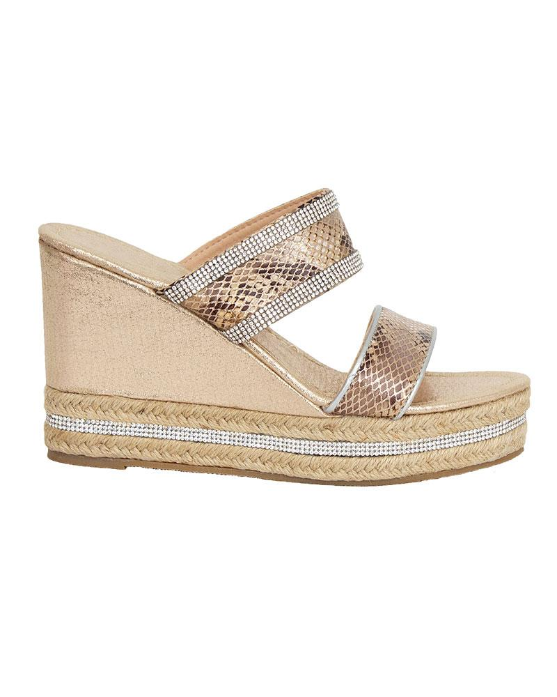 Shelikes-Womens-Sparkly-Wedge-Diamante-Slip-On-Summer-Beach-Holiday-Sandals thumbnail 7