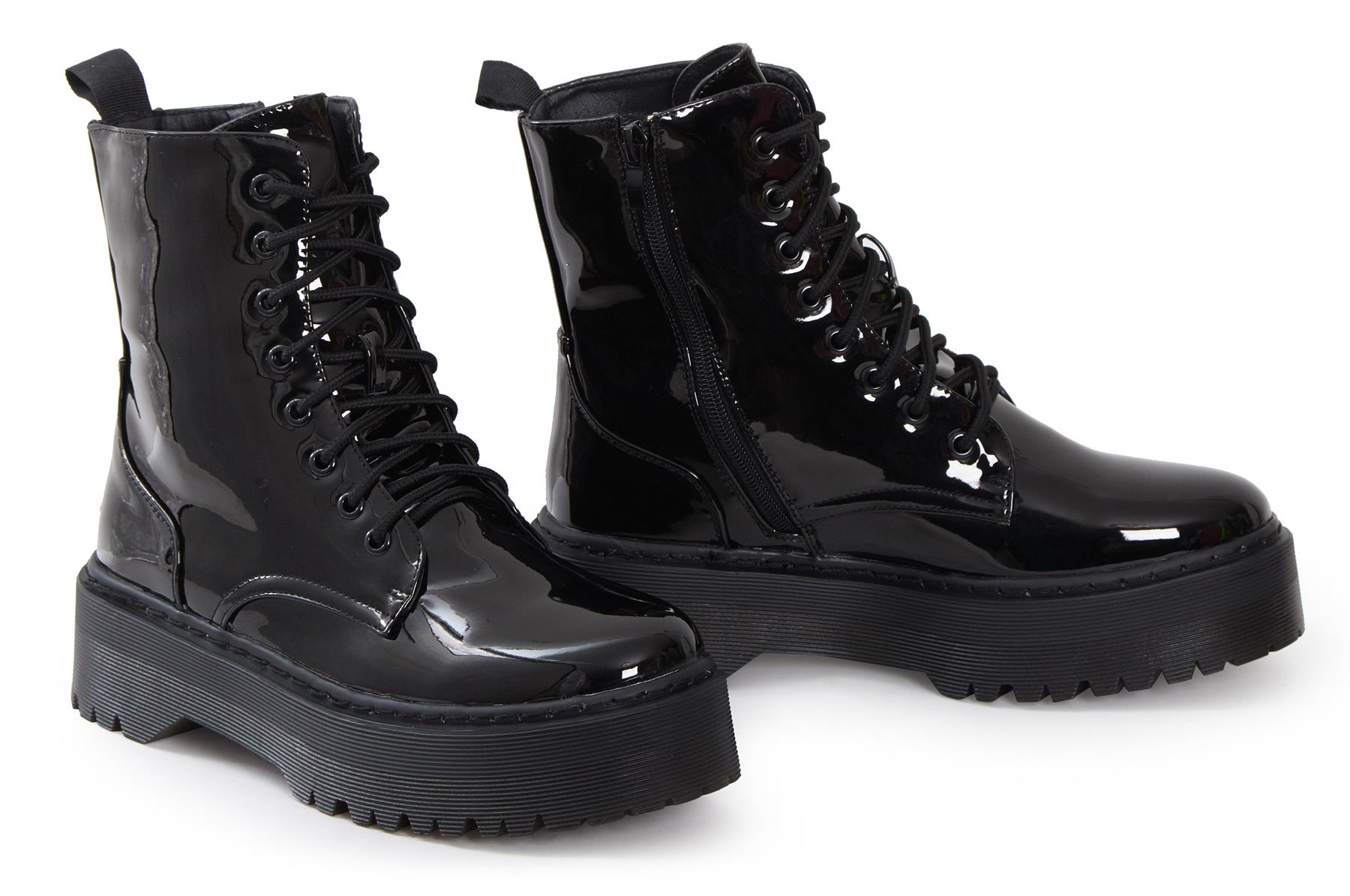 Womens-HiTop-Platform-Military-Punk-Biker-Ankle-PU-Leather-Lace-Up-Vintage-Boots thumbnail 7