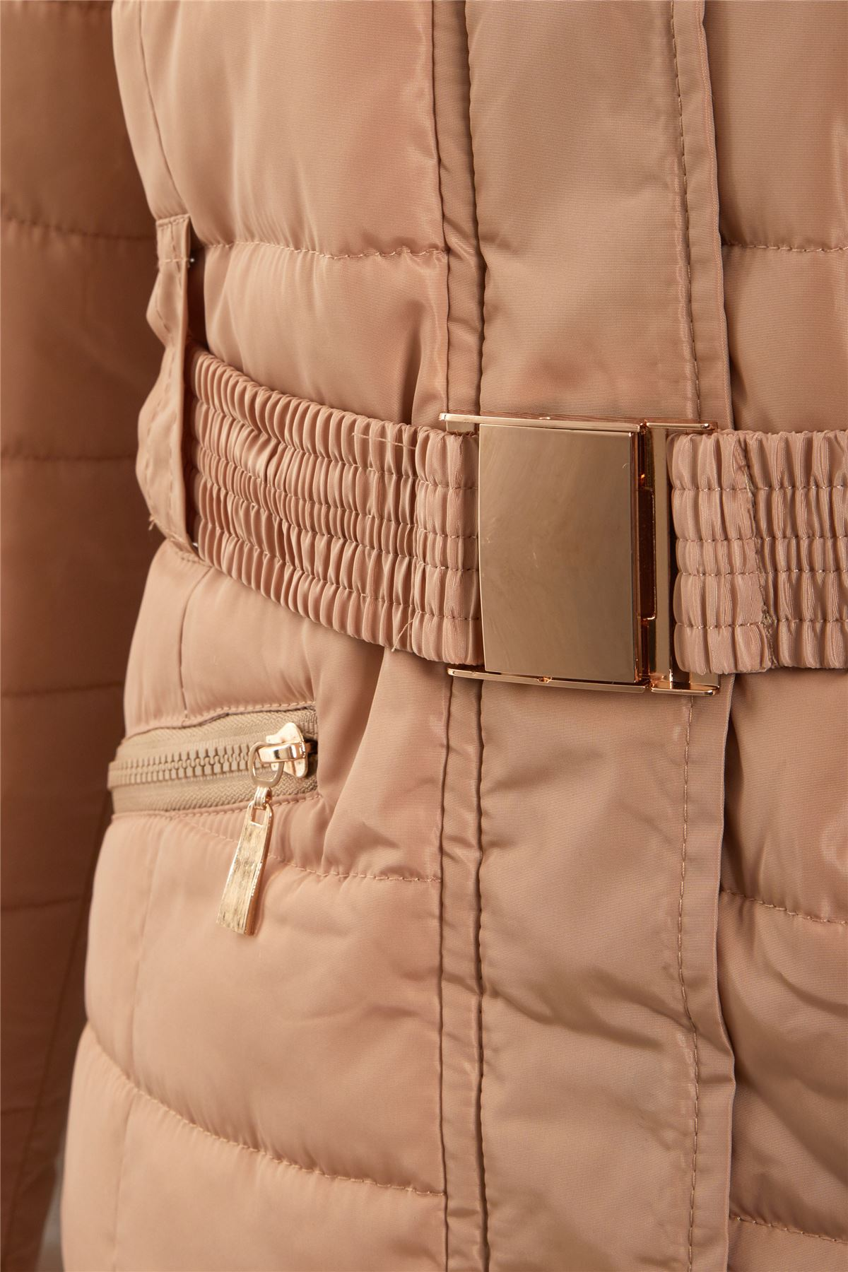 Ladies-Belted-Faux-Fur-Hood-Hooded-Long-Parka-Jacket-Quilted-Winter-Coat thumbnail 4