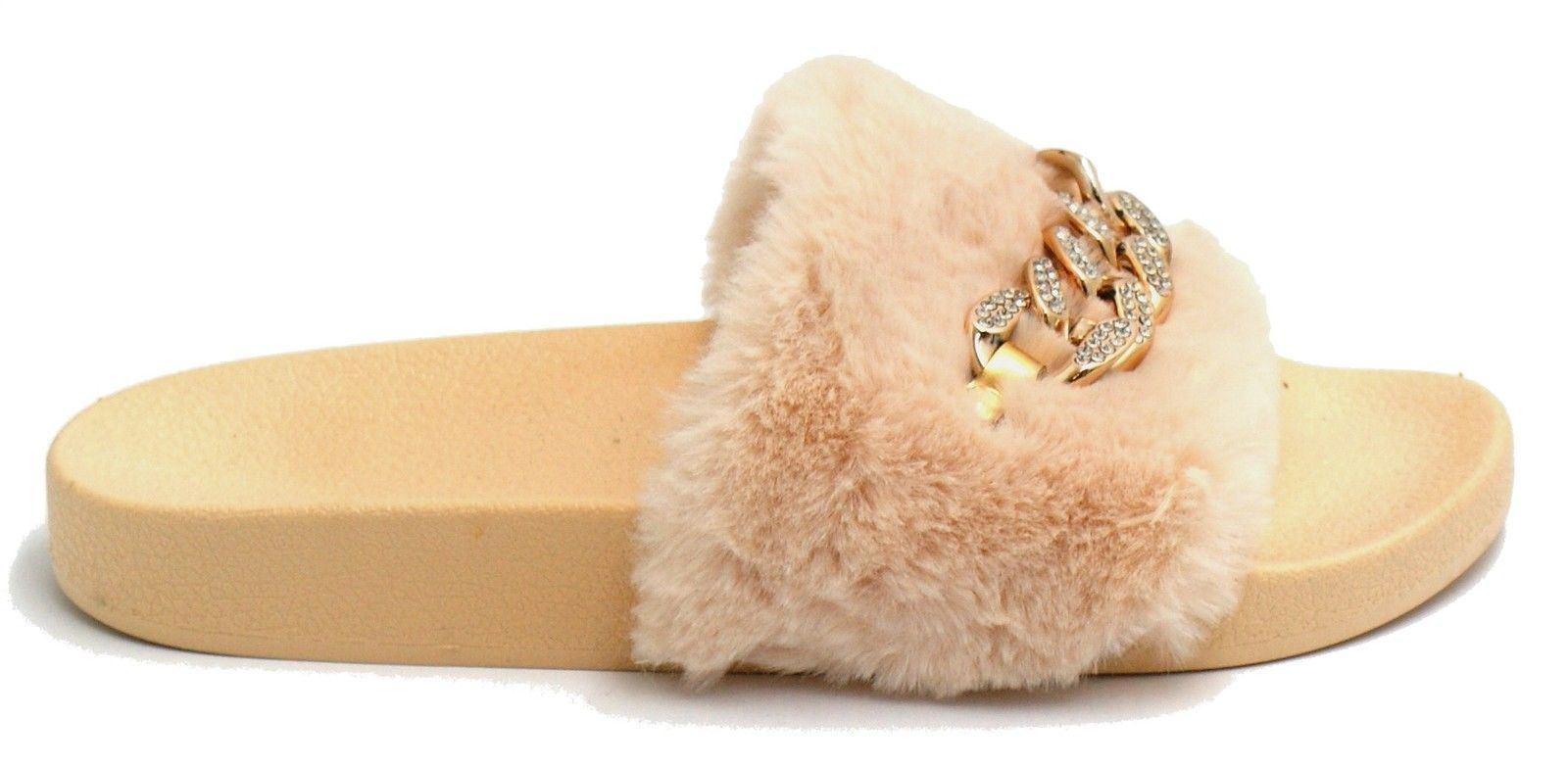 Nueva camiseta para mujer cómodos Cadena De Piel Sintética Sin Cordones Zapatos Informales Zapatillas De Diamante Flip Flop