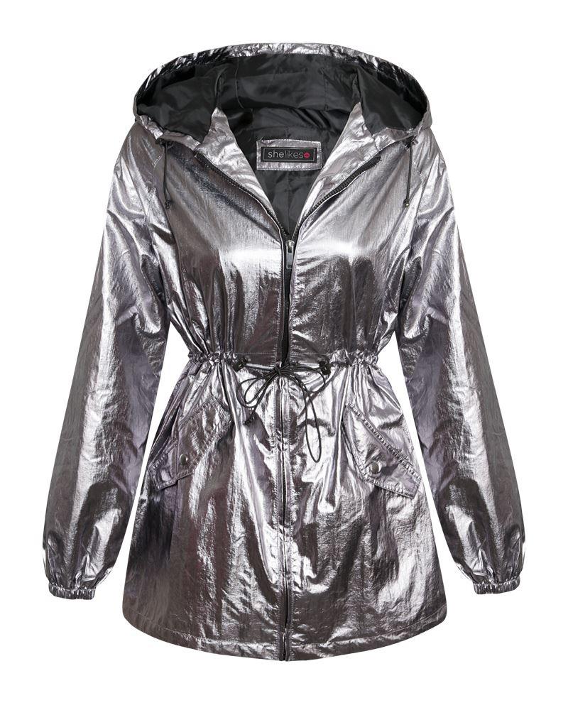 Womens Lightweight Parka Ladies Parachute Metallic Silver Jacket