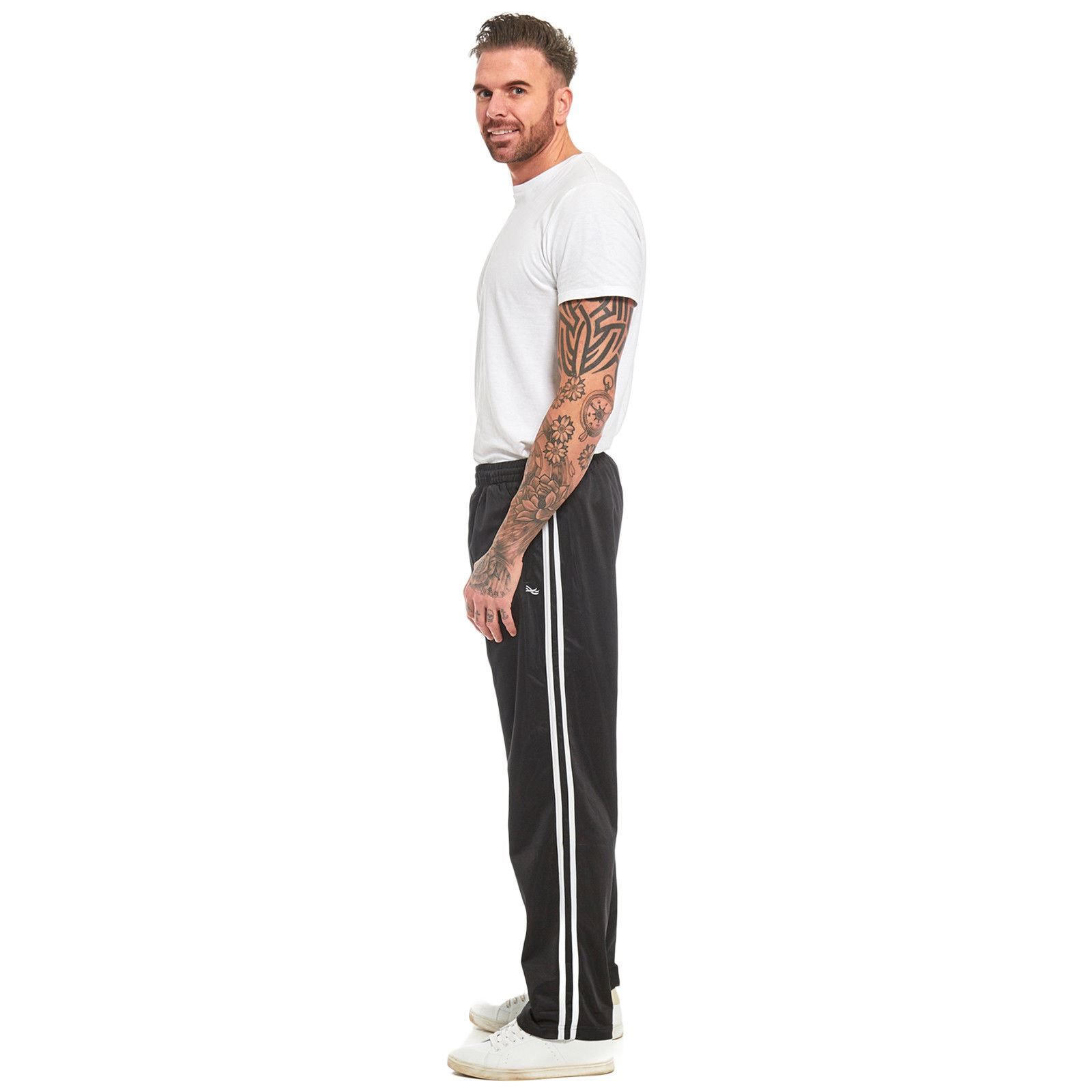 Mens-Tracksuit-Joggers-Jogging-Striped-Gym-Sports-Silky-Bottoms-Trousers-Pants thumbnail 4