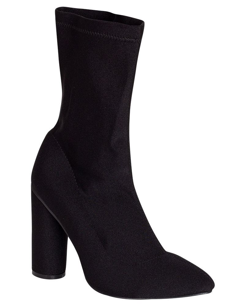 Shelikes-Womens-Round-Heel-Fit-Stretch-Ankle-Black-Polyester-Sock-Shoes-Boots thumbnail 3