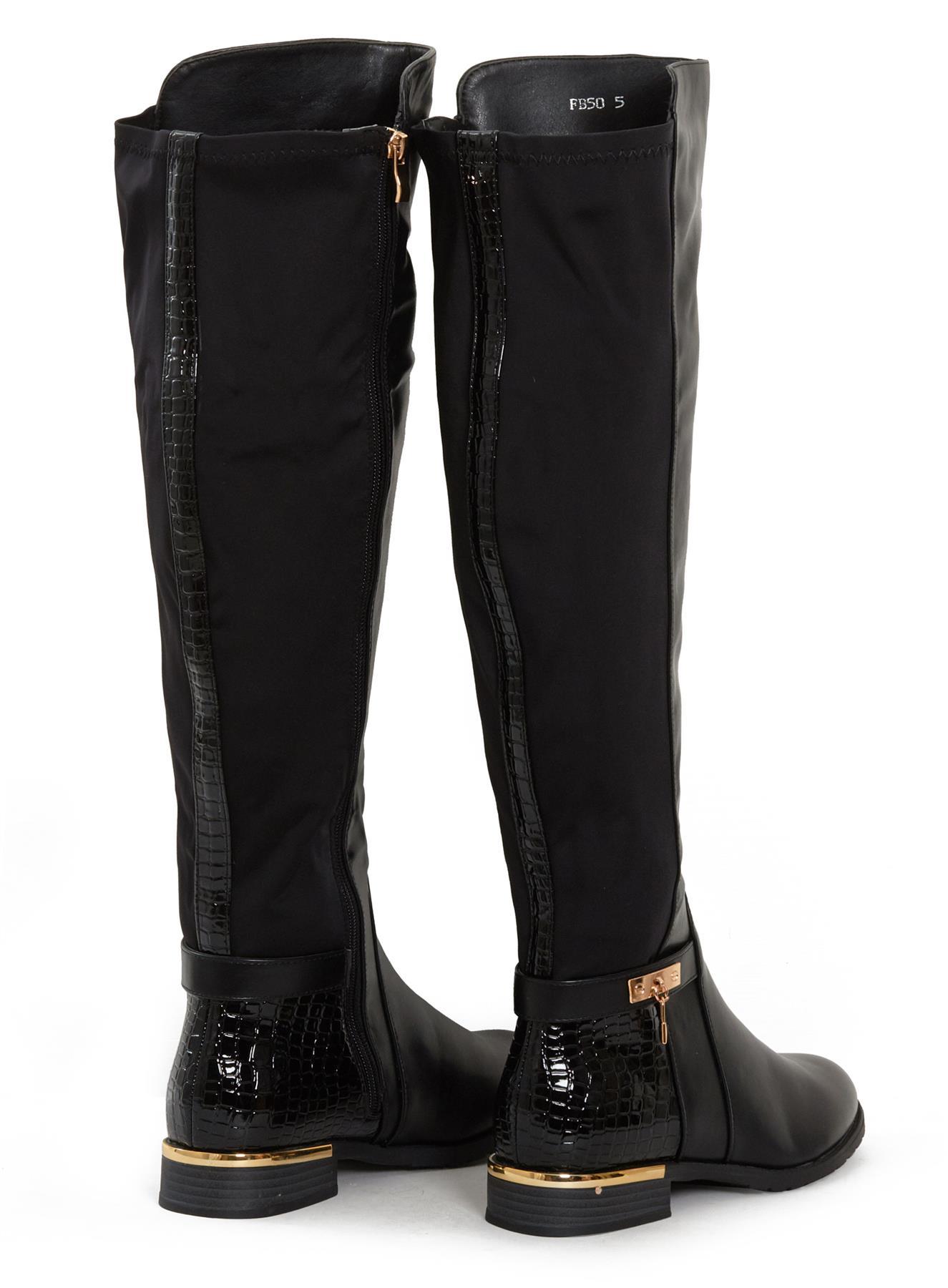 Womens-Ladies-Knee-High-Gold-Detail-Low-Block-Heel-Zip-Up-PU-Suede-Black-Boots thumbnail 6