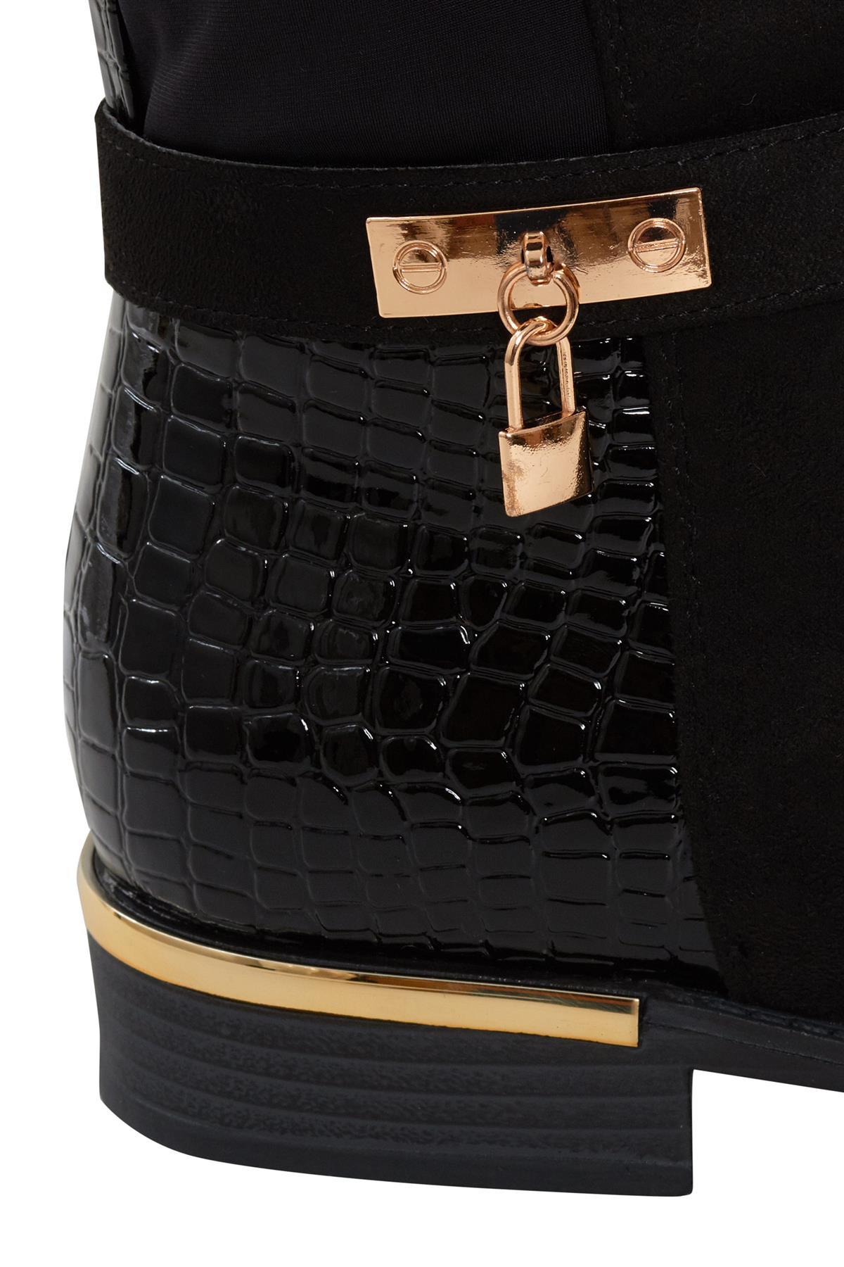Womens-Ladies-Knee-High-Gold-Detail-Low-Block-Heel-Zip-Up-PU-Suede-Black-Boots thumbnail 9