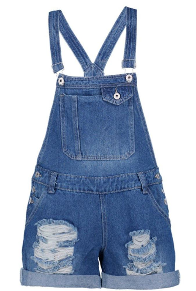 New-Womens-Ripped-Distressed-Pouch-Pocket-Cotton-Denim-Buttoned-Dungaree-Shorts