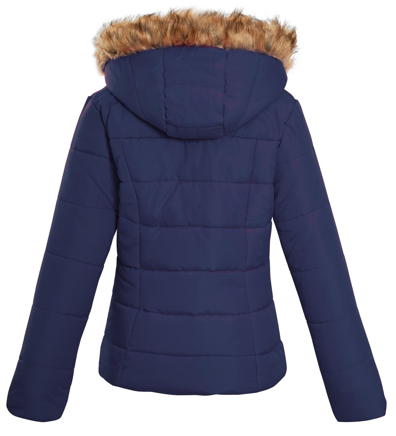 Shelikes-Ladies-Padded-Faux-Fur-Trim-Hood-Hooded-Jacket-Winter-Coat-Size-6-to-16 miniatuur 7