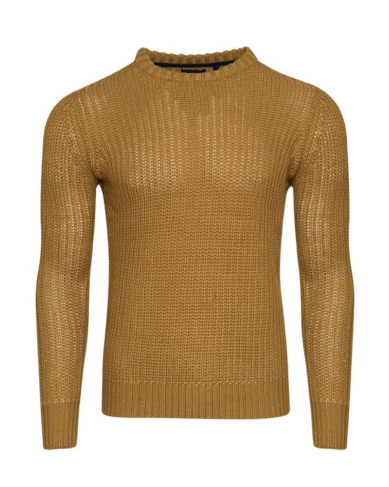 Mens-Knitted-Crew-Neck-Jumper-Cardigan-Sweatshirt-Sizes-S-XL