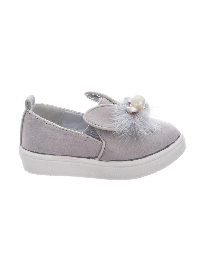 New Kids Girls Bunny Rabbit Ears Sparkle Pom Pom Slip On Bow Detail Shoes