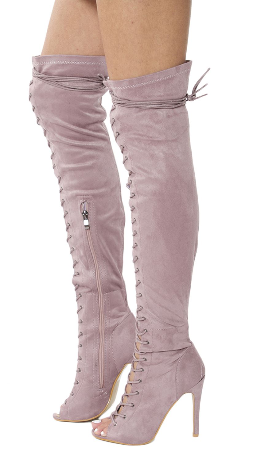 new womens front lace thigh high stiletto heel boots