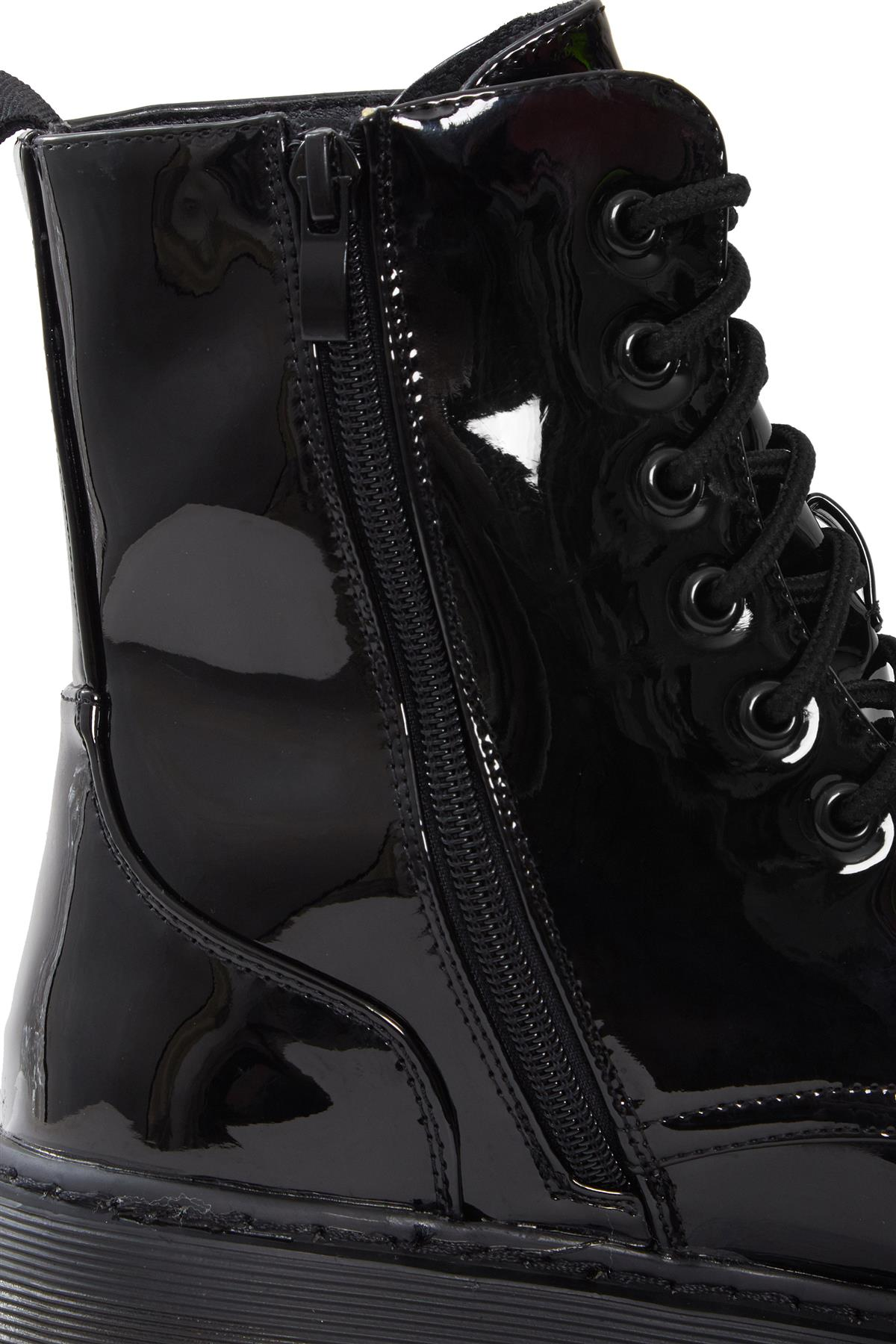 Womens-HiTop-Platform-Military-Punk-Biker-Ankle-PU-Leather-Lace-Up-Vintage-Boots thumbnail 4