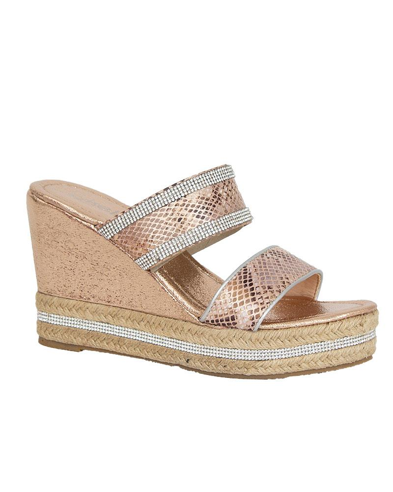 Shelikes-Womens-Sparkly-Wedge-Diamante-Slip-On-Summer-Beach-Holiday-Sandals thumbnail 9