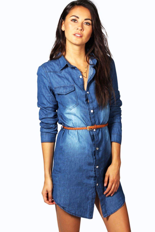 Womens Ladies Jeans Denim Shirt Belt Dress UK 8 To 16 | eBay