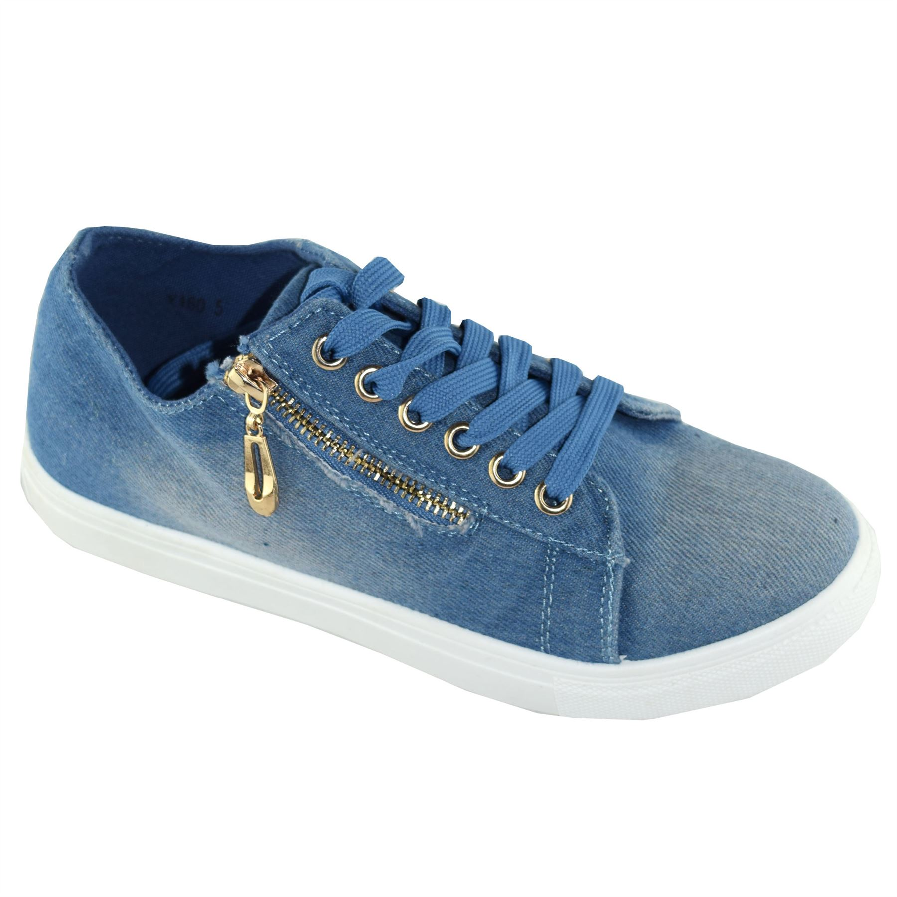 New Womens Lace Up Wet Look Side Zip Classic Fit Shoes Casual Sneakers