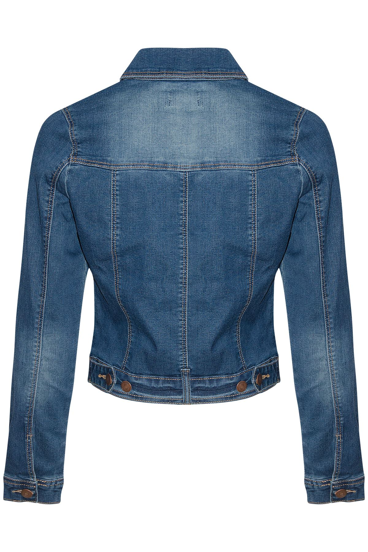 Womens Sleeve Vintage Wash Waistcoat Denim Jean Jacket Stretch Long
