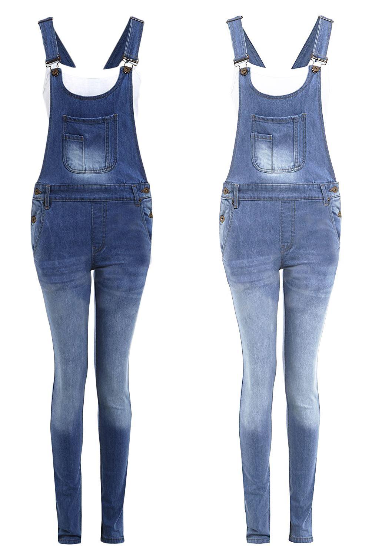 Imparato Nuova Linea Donna Tasca A Marsupio Con Bottoni Blu Jeans Tutina Salopette Pantaloni-mostra Il Titolo Originale