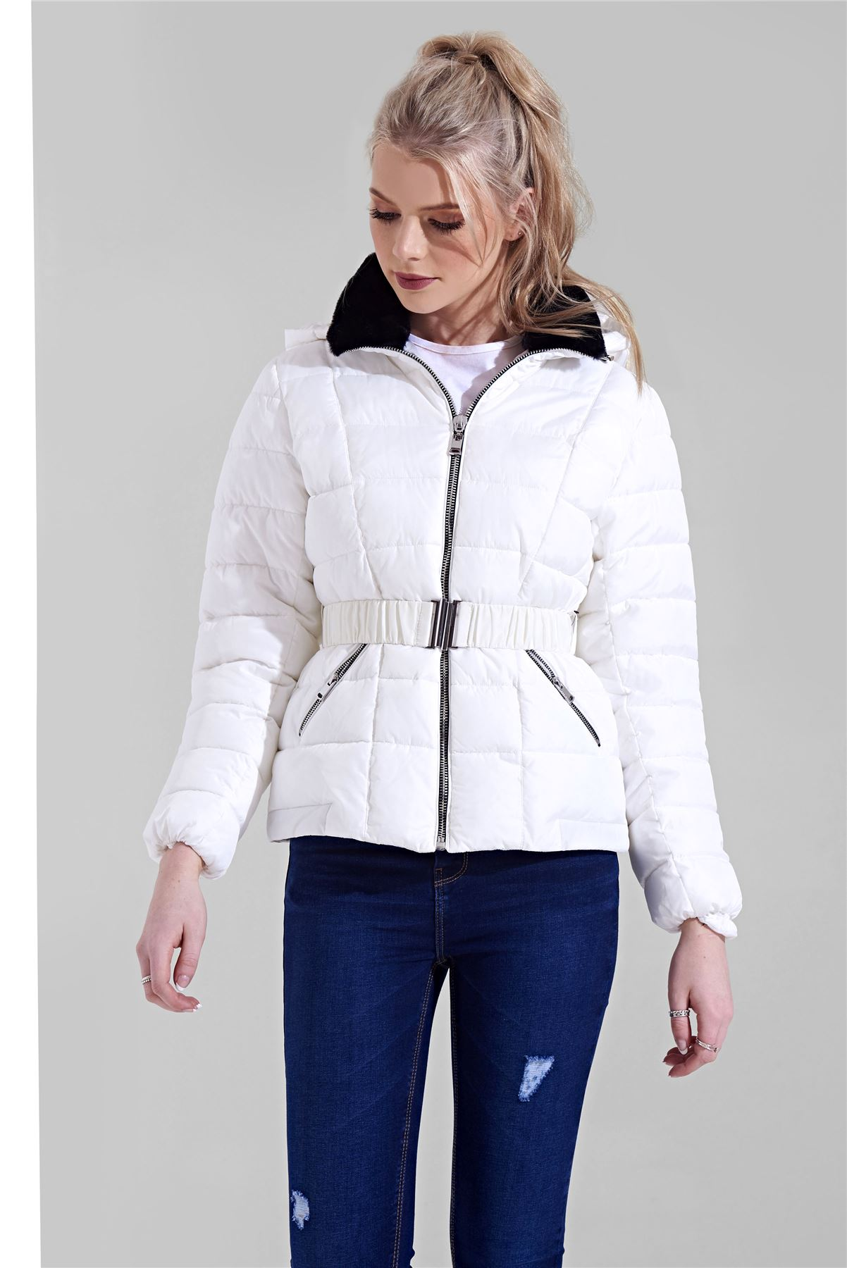 Womens-Ladies-Black-Hood-Belted-Fur-Collar-Zip-Up-Quilted-Puffer-Jacket-Coat thumbnail 11