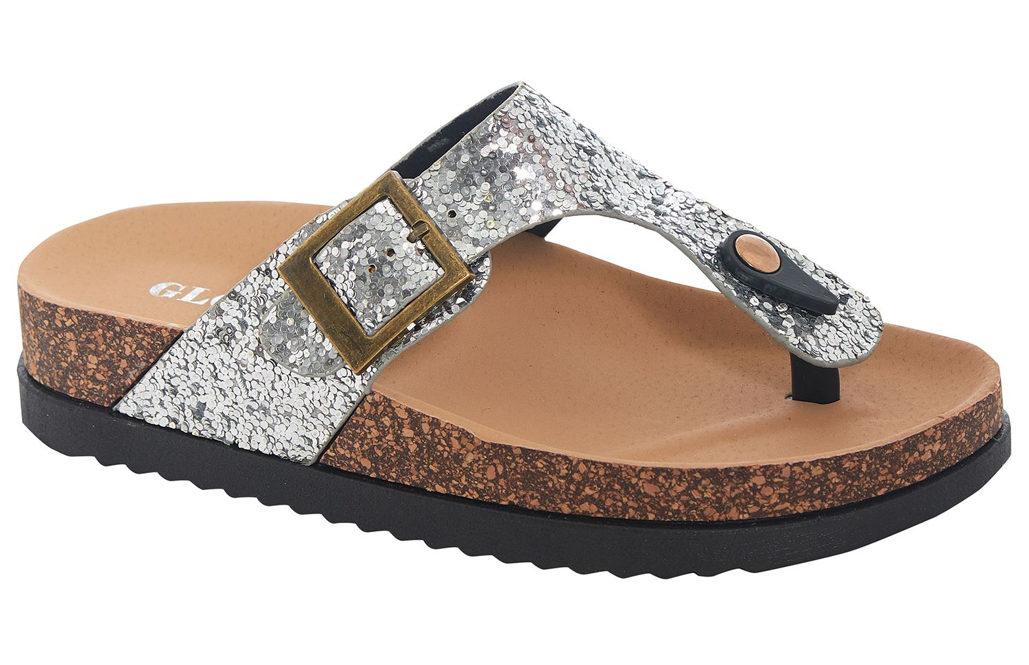 464af8ad4 Ladies Womens T Bar Cork Wedge Black Flip Flops Sequin Summer Beach ...