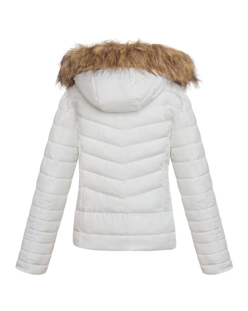 shelikes Womens Ladies Quilted Padded Faux Fur Detachable Hooded Warm Winter Jacket Coat