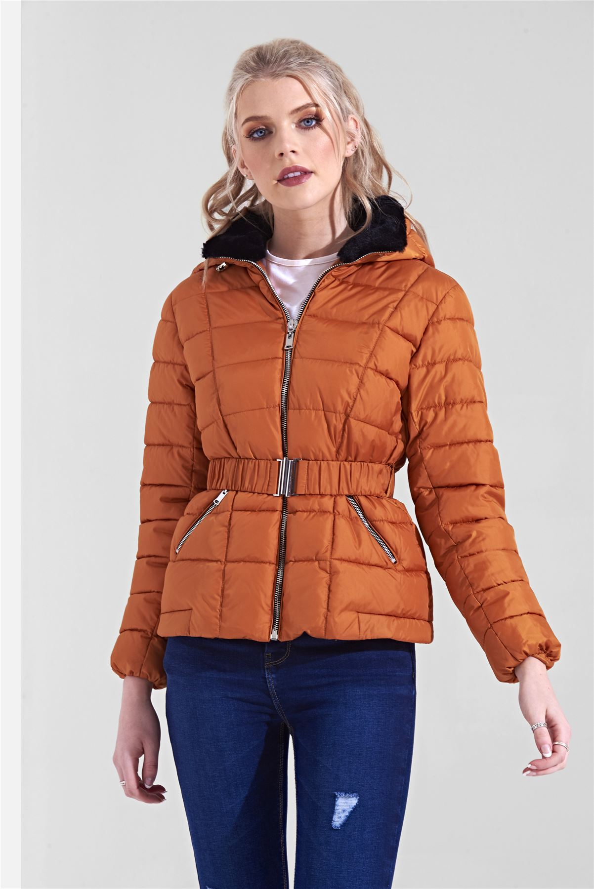 Womens-Ladies-Black-Hood-Belted-Fur-Collar-Zip-Up-Quilted-Puffer-Jacket-Coat thumbnail 4