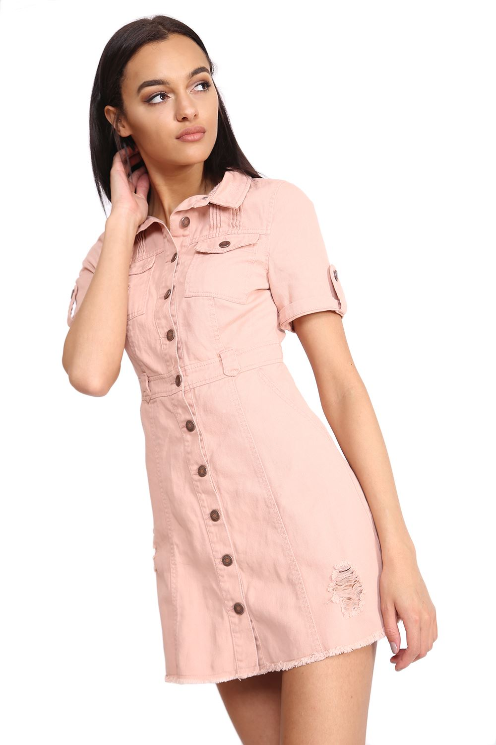 Well-liked Womens Short Sleeve Distressed LOOK Denim Button up Safari Style  NR38