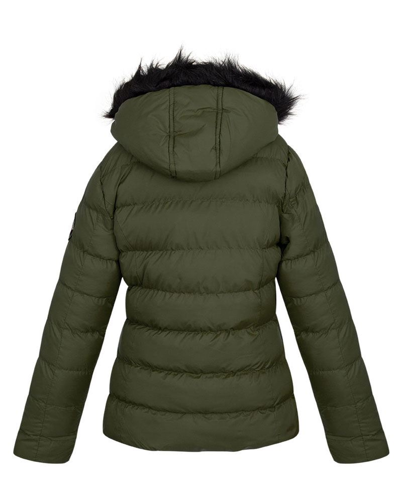 New Womens Chevron Quilted Zipped Puffer Padded Fur Hooded Jacket Coat